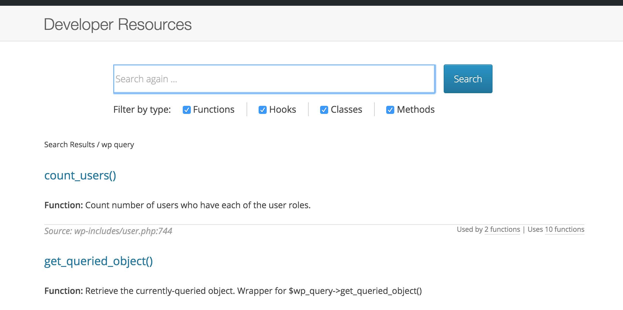 Mockup of search form on results page